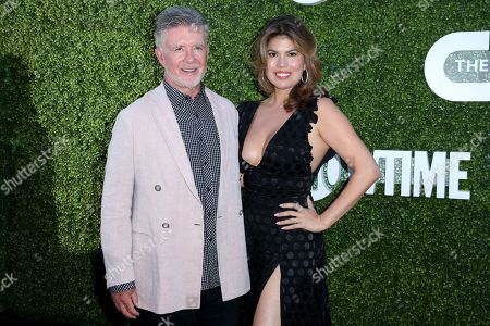 Tanya Callau, right, and Alan Thicke arrive at the Summer TCA CBS, CW, Showtime Party at Pacific Design Center, in West Hollywood, Calif