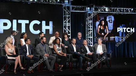 "Mo McRae, from top left, Meagan Holder, Tim Jo, executive producer/director Paris Barclay, executive producer Helen Bartlett, executive producer Tony Bill and Ali Larter, from bottom left, Mark Consuelos, Mark-Paul Gosselaar, Kylie Bunbury, creator/executive producer, Dan Fogelman, creator/executive producer, Rick Singer and executive producer Kevin Falls participate in the ""Pitch"" panel during the Fox Television Critics Association summer press tour, in Beverly Hills, Calif"