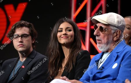 "Ryan McCartan, from left, Victoria Justice and executive producer Lou Adler participates in the panel for ""The Rocky Horror Picture Show"" during the Fox Television Critics Association summer press tour, in Beverly Hills, Calif"