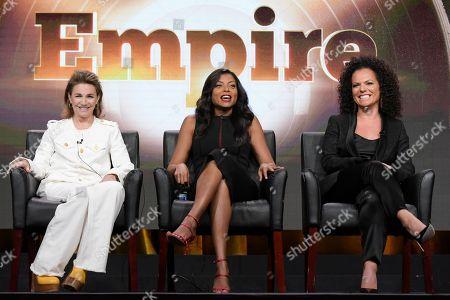 "Ilene Chaiken, from left, Taraji P. Henson and Sanaa Hamri participate in the ""Empire"" panel during the Fox Television Critics Association summer press tour, in Beverly Hills, Calif"
