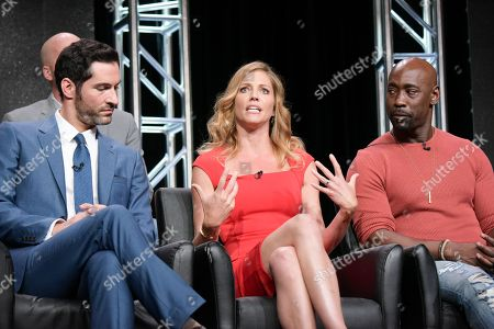 "Stock Image of Tom Ellis, from left, Tricia Helfer and DB Woodside participate in the ""Gotham/Lucifer"" panel during the Fox Television Critics Association summer press tour, in Beverly Hills, Calif"