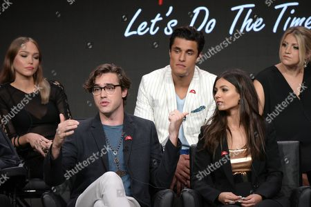 "Ivy Levan, from left, Ryan McCartan, Staz Nair, Victoria Justice and Annaleigh Ashford participate in the panel for ""The Rocky Horror Picture Show"" during the Fox Television Critics Association summer press tour, in Beverly Hills, Calif"