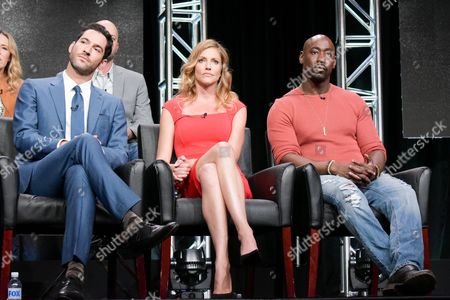 "Tom Ellis, from left, Tricia Helfer and DB Woodside participate in the ""Gotham/Lucifer"" panel during the Fox Television Critics Association summer press tour, in Beverly Hills, Calif"