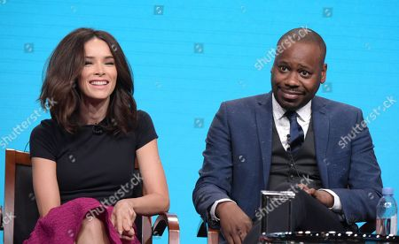 Abigail Spencer, left, and Malcolm Barrett participate in the 'Timeless' panel during the NBCUniversal Television Critics Association summer press tour, in Beverly Hills, Calif
