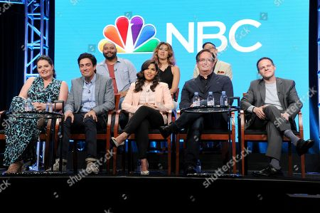 """Stock Image of Colton Dunn, from back row left, Nichole Bloom and Nico Santos, and from front row left, Lauren Ash, Ben Feldman, America Ferrera, Mark McKinney and executive producer Justin Spitzer participate in the """"Superstore"""" panel during the NBCUniversal Television Critics Association summer press tour, in Beverly Hills, Calif"""