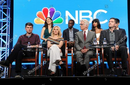 """D'Arcy Carden, from back row left, William Jackson Harper, Jameela Jamil and Manny Jacinto, and from front row left, Michael Schur, Kristen Bell, Ted Danson and executive producer Drew Goddard participate in """"The Good Place"""" panel during the NBC Television Critics Association summer press tour, in Beverly Hills, Calif"""