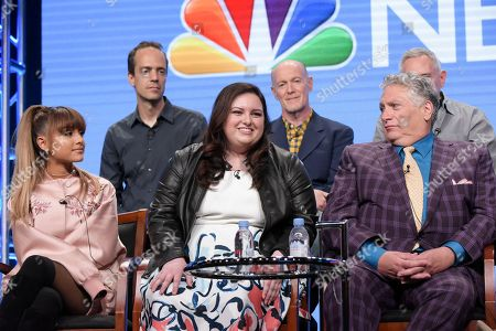 """Stock Image of Alex Rudzinski, from back row left, Neil Meron and Craig Zadan, and from front row left, Ariana Grande, Maddie Baillio and Harvey Fierstein participate in the """"Hairspray Live!"""" panel during the NBC Television Critics Association summer press tour, in Beverly Hills, Calif"""