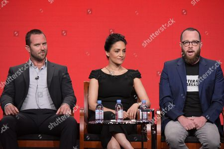 """Sullivan Stapleton, from left, Archie Panjabi and executive producer Martin Gero participate in the """"Blindspot"""" panel during the NBCUniversal Television Critics Association summer press tour, in Beverly Hills, Calif"""