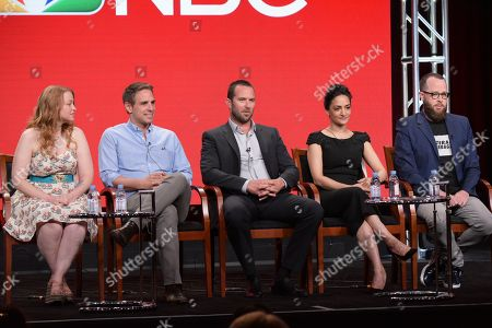 """Stock Picture of Executive producers Sarah Schechter, from left, and Greg Berlanti, Sullivan Stapleton, Archie Panjabi and executive producer Martin Gero participate in the """"Blindspot"""" panel during the NBCUniversal Television Critics Association summer press tour, in Beverly Hills, Calif"""