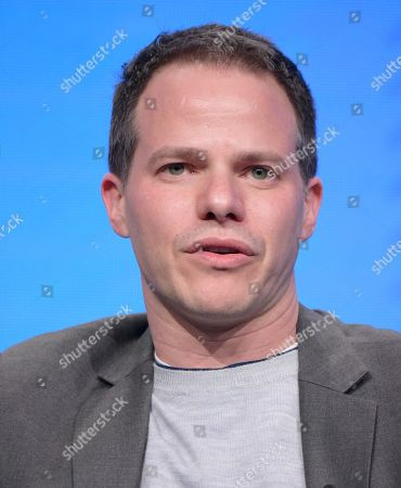 """Stock Photo of Executive producer Justin Spitzer participates in the """"Superstore"""" panel during the NBCUniversal Television Critics Association summer press tour, in Beverly Hills, Calif"""