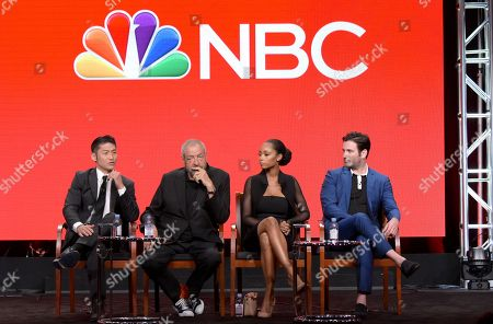 Brian Tee, from left, executive producer Dick Wolf, Yaya DaCosta and Colin Donnell participate in the 'Chicago Med' panel during the NBCUniversal Television Critics Association summer press tour, in Beverly Hills, Calif