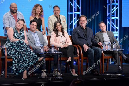 """Stock Picture of Colton Dunn, from back row left, Nichole Bloom and Nico Santos, and from front row left, Lauren Ash, Ben Feldman, America Ferrera, Mark McKinney and executive producer Justin Spitzer participate in the """"Superstore"""" panel during the NBCUniversal Television Critics Association summer press tour, in Beverly Hills, Calif"""