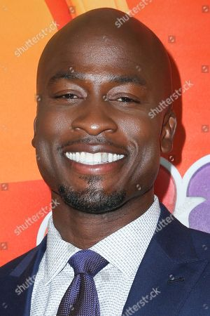 """Akbar Gbajabiamila, a cast member in the television series """"American Ninja Warrior,"""" arrives at the NBCUniversal Television Critics Association summer press tour, in Beverly Hills, Calif"""