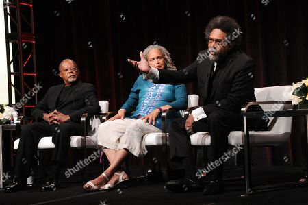 "Henry Louis Gates Jr., from left, Charlayne Hunter-Gault and Dr. Cornel West participate in the ""Black America Since MLK: And Still I Rise"" panel during the PBS Television Critics Association summer press tour, in Beverly Hills, Calif"