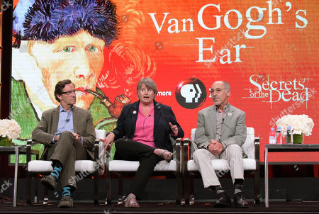 "Executive-in-charge Stephen Segaller, from left, author Bernadette Murphy and retired staff member of The Bancroft Library at the University of California, David Kessler participate in ""Secrets of The Dead's"" ""Van Gogh's Ear"" panel during the PBS Television Critics Association summer press tour, in Beverly Hills, Calif"