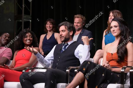 """McKinley Belcher III, from left, Patina Miller, executive producer Lisa Wolfinger, Josh Radnor, Norbert Leo Butz, Tara Summers, and Hannah James participate in the """"Mercy Street"""" season two panel during the PBS Television Critics Association summer press tour, in Beverly Hills, Calif"""