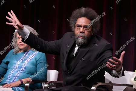 "Charlayne Hunter-Gault, left, and Dr. Cornel West participate in the ""Black America Since MLK: And Still I Rise"" panel during the PBS Television Critics Association summer press tour, in Beverly Hills, Calif"