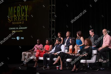 "McKinley Belcher III, from left, Patina Miller, executive producer Lisa Wolfinger, Josh Radnor, Norbert Leo Butz, Hannah James, Tara Summers, L. Scott Caldwell and executive producers David Zabel and David Zucker participate in the ""Mercy Street"" season two panel during the PBS Television Critics Association summer press tour, in Beverly Hills, Calif"