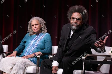 "Stock Photo of Charlayne Hunter-Gault, left, and Dr. Cornel West participate in the ""Black America Since MLK: And Still I Rise"" panel during the PBS Television Critics Association summer press tour, in Beverly Hills, Calif"