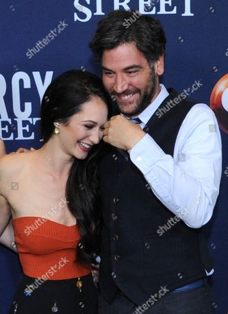 """Hannah James, left, and Josh Radnor pose for photos during the """"Mercy Street"""" season two portion of the PBS Television Critics Association summer press tour, in Beverly Hills, Calif"""