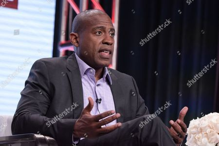 "Carlos Watson participates in ""The Contenders: 16 for 16"" panel during the PBS Television Critics Association summer press tour, in Beverly Hills, Calif"