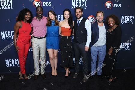 "Patina Miller, from left, McKinley Belcher III, Tara Summers, Hannah James, Josh Radnor, Norbert Leo Butz and L. Scott Caldwell pose for photos during the ""Mercy Street"" season two portion of the PBS Television Critics Association summer press tour, in Beverly Hills, Calif"