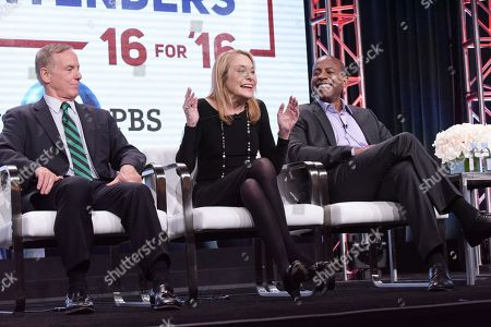 "Howard Dean, from left, Susan Estrich and Carlos Watson participate in ""The Contenders: 16 for 16"" panel during the PBS Television Critics Association summer press tour, in Beverly Hills, Calif"
