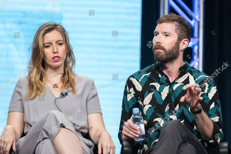 "Sarah-Violet Bliss, left, and Charles Rogers participate in the TBS ""Search Party"" panel during the Turner Networks TV Television Critics Association summer press tour, in Beverly Hills, Calif"