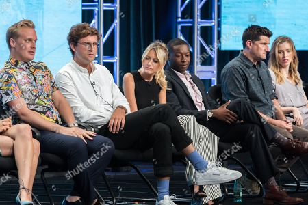 "John Early, fronm left, John Reynolds, Meredith Hagner, Brandon Micheal Hall, Michael Showalter, and Sarah-Violet Bliss participate in the TBS ""Search Party"" panel during the Turner Networks TV Television Critics Association summer press tour, in Beverly Hills, Calif"