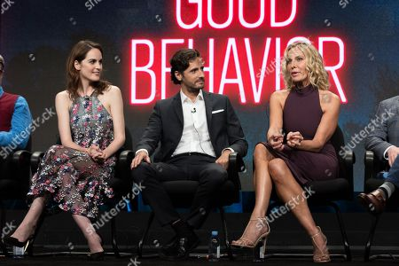 """Michelle Dockery, from left, Juan Diego Botto, and Lusia Strus participate in the TNT """"Good Behavior"""" panel during the Turner Networks TV Television Critics Association summer press tour, in Beverly Hills, Calif"""