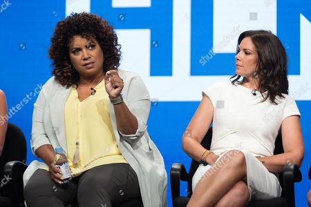 Michaela Pereira, left, and Erica Hill participate in the HLN panel during the Turner Networks TV Television Critics Association summer press tour, in Beverly Hills, Calif