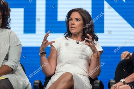 Erica Hill participates in the HLN panel during the Turner Networks TV Television Critics Association summer press tour, in Beverly Hills, Calif