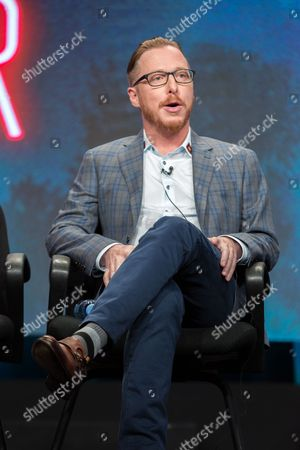 "Blake Crouch participates in the TNT ""Good Behavior"" panel during the Turner Networks TV Television Critics Association summer press tour, in Beverly Hills, Calif"