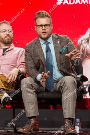 """Adam Conover participates in the Tru TV """"Adam Ruins Everything"""" panel during the Turner Networks TV Television Critics Association summer press tour, in Beverly Hills, Calif"""