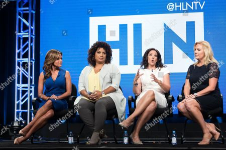 Robin Meade, from left, Michaela Pereira, Erica Hill, and Stephanie Todd participate in the HLN panel during the Turner Networks TV Television Critics Association summer press tour, in Beverly Hills, Calif