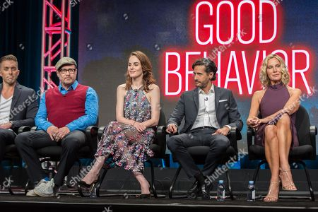 """Chad Hodge, from left, Terry Kinny, Michelle Dockery, Juan Diego Botto, and Lusia Strus participate in the TNT """"Good Behavior"""" panel during the Turner Networks TV Television Critics Association summer press tour, in Beverly Hills, Calif"""