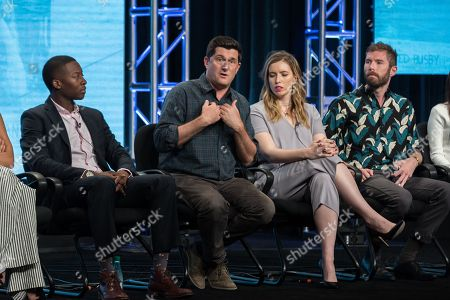 "Brandon Micheal Hall, from left, Michael Showalter, Sarah-Violet Bliss, and Charles Rogers participate in the TBS ""Search Party"" panel during the Turner Networks TV Television Critics Association summer press tour, in Beverly Hills, Calif"