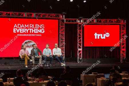 """Sam Reich, from left, Adam Conover, Travis Helwig, and Jon Wolf participate in the Tru TV """"Adam Ruins Everything"""" panel during the Turner Networks TV Television Critics Association summer press tour, in Beverly Hills, Calif"""