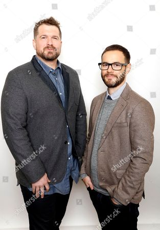 """Producer Seth Gordon, left, and director Clay Tweel pose for a portrait to promote the film, """"Gleason"""", at the Toyota Mirai Music Lodge during the Sundance Film Festival on in Park City, Utah"""
