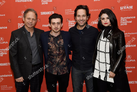 """Rob Burnett, left, writer/director/producer of """"The Fundamentals of Caring,"""" poses with cast members, from second left, Craig Roberts, Paul Rudd and Selena Gomez at the premiere of the film at the 2016 Sundance Film Festival, in Park City, Utah"""