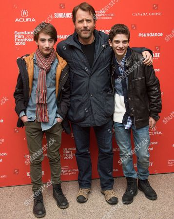"From left, actors Theo Taplitz, Greg Kinnear and Michael Barbieri pose at the premiere of ""Little Men"" during the 2016 Sundance Film Festival, in Park City, Utah"