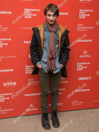 "Actor Theo Taplitz poses at the premiere of ""Little Men"" during the 2016 Sundance Film Festival, in Park City, Utah"