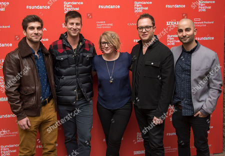 """From left, producers David Bernon, Paul Bernon, Mel Eslyn, Sam Slater and Sev Ohanian pose at the premiere of """"The Intervention"""" during the 2016 Sundance Film Festival, in Park City, Utah"""