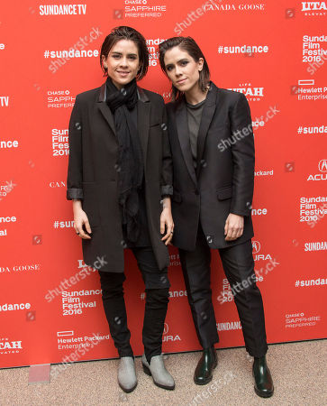 "Musicians Tegan Rain Quin, left, and Sara Keirsten Quin of Tegan and Sara pose at the premiere of ""The Intervention"" during the 2016 Sundance Film Festival, in Park City, Utah"