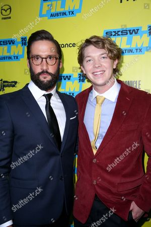 """Stock Photo of Juston Street, left, and Tanner Kalina arrive at the premiere of """"Everybody Wants Some"""" at the Paramount Theatre during South By Southwest, in Austin, Texas"""