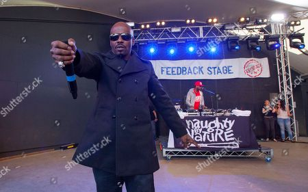 Treach and DJ Kay Gee of Naughty by Nature perform at Rachael Ray's Feedback Party at Stubb's Bar-B-Que, during the South by Southwest Music Festival, in Austin, Texas