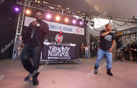 Treach, DJ Kay Gee and Vin Rock of Naughty by Nature perform at Rachael Ray's Feedback Party at Stubb's Bar-B-Que, during the South by Southwest Music Festival, in Austin, Texas