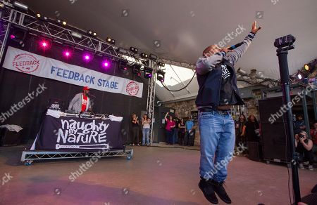 DJ Kay Gee and Vin Rock of Naughty by Nature perform at Rachael Ray's Feedback Party at Stubb's Bar-B-Que, during the South by Southwest Music Festival, in Austin, Texas