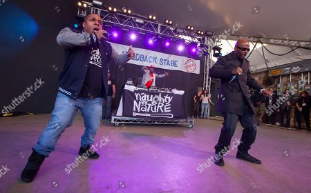 Vin Rock, DJ Kay Gee and Treach of Naughty by Nature perform at Rachael Ray's Feedback Party at Stubb's Bar-B-Que, during the South by Southwest Music Festival, in Austin, Texas