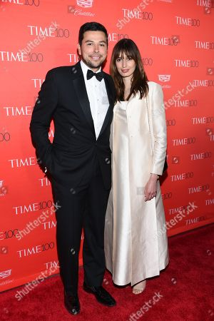 Egyptian journalist Ayman Mohyeldin, left, and guest attend the TIME 100 Gala, celebrating the 100 most influential people in the world, at Frederick P. Rose Hall, Jazz at Lincoln Center, in New York